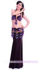New Performance Belly Dance Costume 2PCS set Bra&Belt 34B/C 36B/C 38B/C 11 color