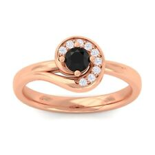 Black Onyx FG SI Round Diamond Gemstone Fashion Ring Women 10K Solid Gold