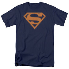 Superman Navy & Orange Shield Mens Short Sleeve Shirt NAVY