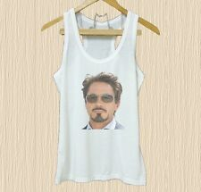 Robert Downey Jr tank top print tee XS S M L XL white tank top/ Grey tee/ dress