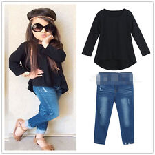 2pcs Toddler Baby Girl Outfit Tops T-shirt Denim Pants Kid Casual Clothes Set