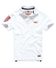 New Mens Superdry Cut Collar Pique Polo Optic White