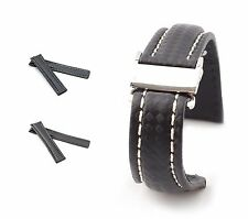 BOB Carbon Style Deployment Strap for Breitling, 20-24 mm, black, new!