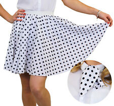 POLKA DOT SKIRT & SCARF WHITE WITH BLACK DOTS ROCK N ROLL FANCY DRESS COSTUME