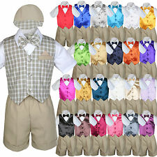 7pc Baby Boy Toddler Formal Khaki Vest Shorts Check Suit Extra Bow Tie Set S-4T