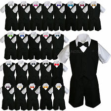 6pc Baby Boys & Toddler Formal Vest Shorts Black Suits Extra Bow Tie Set sz S-4T