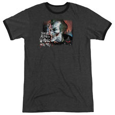 Arkham City Batman Plenty Wrong Mens Adult Heather Ringer Shirt Charcoal