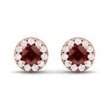 Red Garnet GH SI Diamond Gemstone Womens Halo Stud Earring 14K Rose Gold