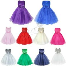 Flower Girl Kid Sequin Tulle Gown Princess Formal Party Wedding Bridesmaid Dress