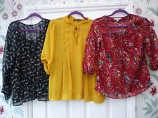 Ladies 6/8 12 16 Red Black Yellow HIGH STREET Semi Sheer Hippy Blouse Tunic Top