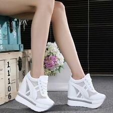 Womens Hidden Wedge Heels Sneakers Lace Up Mesh Platform Sports Shoes Sneakers