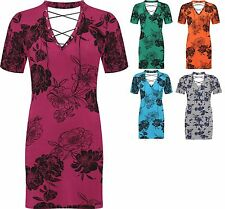 Ladies Short Sleeve Floral Print Lace Eyelet Tie Up Dress Choker V Neck New Top