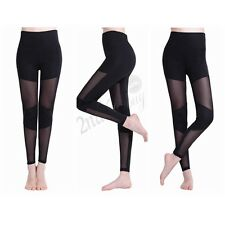 Womens Mesh Splice Sport Yoga Running Pants Fitness Gym Clothes Jogging Trousers