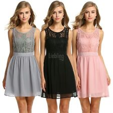 Zeagoo Women's Sheer Lace Sleeveless A-line Cocktail Evening Party Dress LEBB