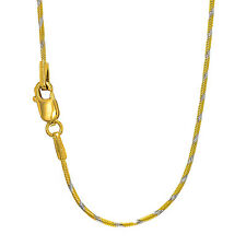 "14k Solid Yellow & White Gold 1mm Swirl Snake Chain Necklace 16"" 18"" 20"""