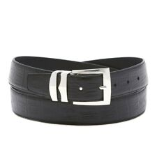 Bonded Leather Belt HORNBACK Pattern Solid Colors Silver-Tone Buckle XL Sizes
