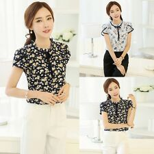 Women Short Sleeve Floral Printed Blouse Tops Fashion Chiffon T-shirts PLUS SIZE