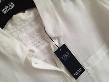 LADIES M&S SIZE 16 PURE LINEN EASIER TO IRON WHITE BLOUSE SHIRT TOP FREE POST
