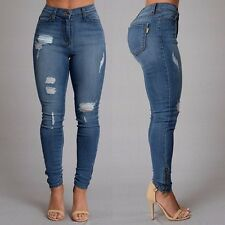 Fashion Womens Ladies Stretch Faded Ripped Slim Fit Skinny Denim Blue Jeans 6-14