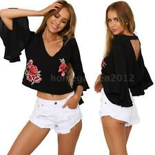 Elegant Womens Floral Embroidery V Neck Flare Sleeve Blouse Crop Tops D3M2