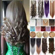 US Real Thick Full Head Clip In Hair Extensions Extention NEW Natural Styles TF0