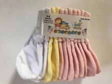 6 Pairs Socks 0-18 Months Infant Baby Girl Pink White Yellow/Green NEW
