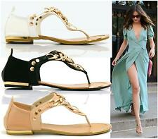 Ladies Diamante Sandals Summer Gladiator Toe Post Gold Studs Thong Shoes Size