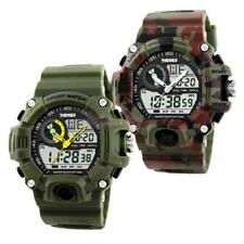 Mens Digital Military Watch Date Alarm LED Analog Quartz 5ATM Waterproof
