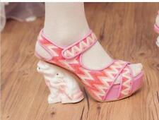 Womens Lolita Mary Janes Wedge Heel Cosplay Wedding Platform Pumps Sandals Shoes