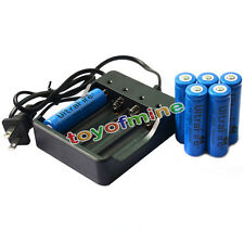 6 PCS 18650 3.7V UF 3800mAh Li-on Rechargeable Battery for LED Torch + Charger