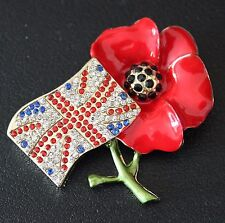 RED POPPY ARMISTICE REMEMBRANCE BROOCH BADGE – CHOICE OF STYLES – BOX / POUCH