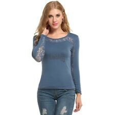 New Women Casual Long Sleeve O-Neck Lace Patchwork Hollow Out Top T-Shirt LEBB