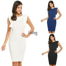 New Women Casual O-Neck Sleeveless Hollow Back Solid Bodycon Dress LEBB