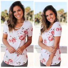 Ivory Criss Cross floral short sleeves tee Top Blouse