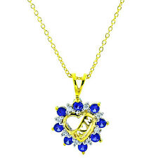 "14k Gold Sterling Silver Created Sapphire Heart Pendant/Necklace18"" Blue"