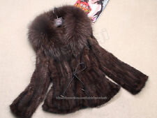 100% Real Genuine Knit Mink Fur Coat Huge Raccoon Collar Outwear Jacket Wearcoat