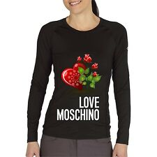 Black Women Top Tee T-shirt Blouse Long Sleeve Heart Rose Love Moschino
