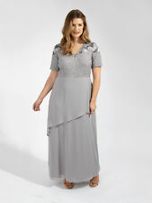 Lovedrobe Luxe Womens Plus Size Floral Sequin Short Sleeve Grey Maxi Dress
