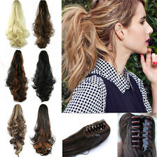 18-26Inch Jaw Claw On Ponytail Clip In Hair Extensions Brown Blonde Hairpiece Nh