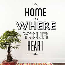 Wall Decal Quote Home Is Where Your Heart Is Decal Sticker Interior Decor MA16