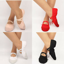 Womens Adult Ballet Pointe Shoes Canvas Gymnastic Split Sole Slippers Costume