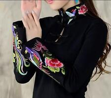 Womens Embroidery Ethnic Floral Tops embroidery Blouse Short Sleeve T-Shirts