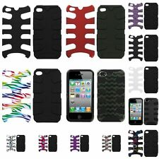 Hybrid Hard Fishbone Dual Layer Silicone Cover Case Skin For iPhone 4 4th 4s