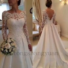 Long Sleeve Wedding Dresses Lace Applique Bridal Gowns Backless Custom 2017 New