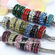 5x 7mm Hole 2-row Crystal Rondelle European Spacer Loose Bead Charm Fit Bracelet