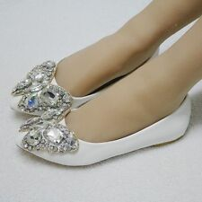 Fashion Handmake Rhinestones Women Flat Shoes Bride Wedding Comfortable Shoes