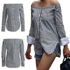 Women Off Shoulder Top Long Sleeve Casual Blouse Summer Stripe Shirt Cotton Hot