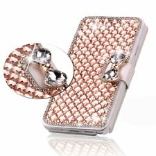 Luxury Bling Bowknot Crystal Diamond Wallet Flip Case Cover For iphone/samsung