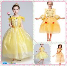 2017 Kids Princess Belle Dress Beauty and the Beast Cosplay Costume Party Dress