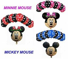 """12"""" inch POLKA DOT & 18"""" inch MICKEY MOUSE FOIL BALLOONS MIX PACK OF baloons"""